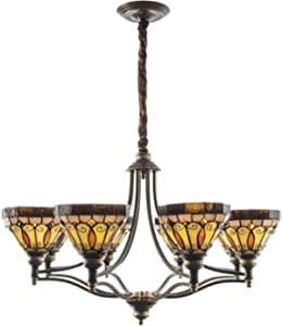 8 Head Vintage Stained Glass Chandelier Tiffany Style Retro Hanging Pendant Lamp for Living Room Bedroom Dining Room Stairs Decoration Ceiling Lighting Fixture, 110-240V, E27