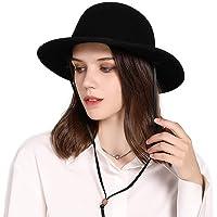 Fancet Damer 100 % ull filt Fedora hatt brett brätte Derby kyrka fest vintermössor för kvinnor krossbar justerbar