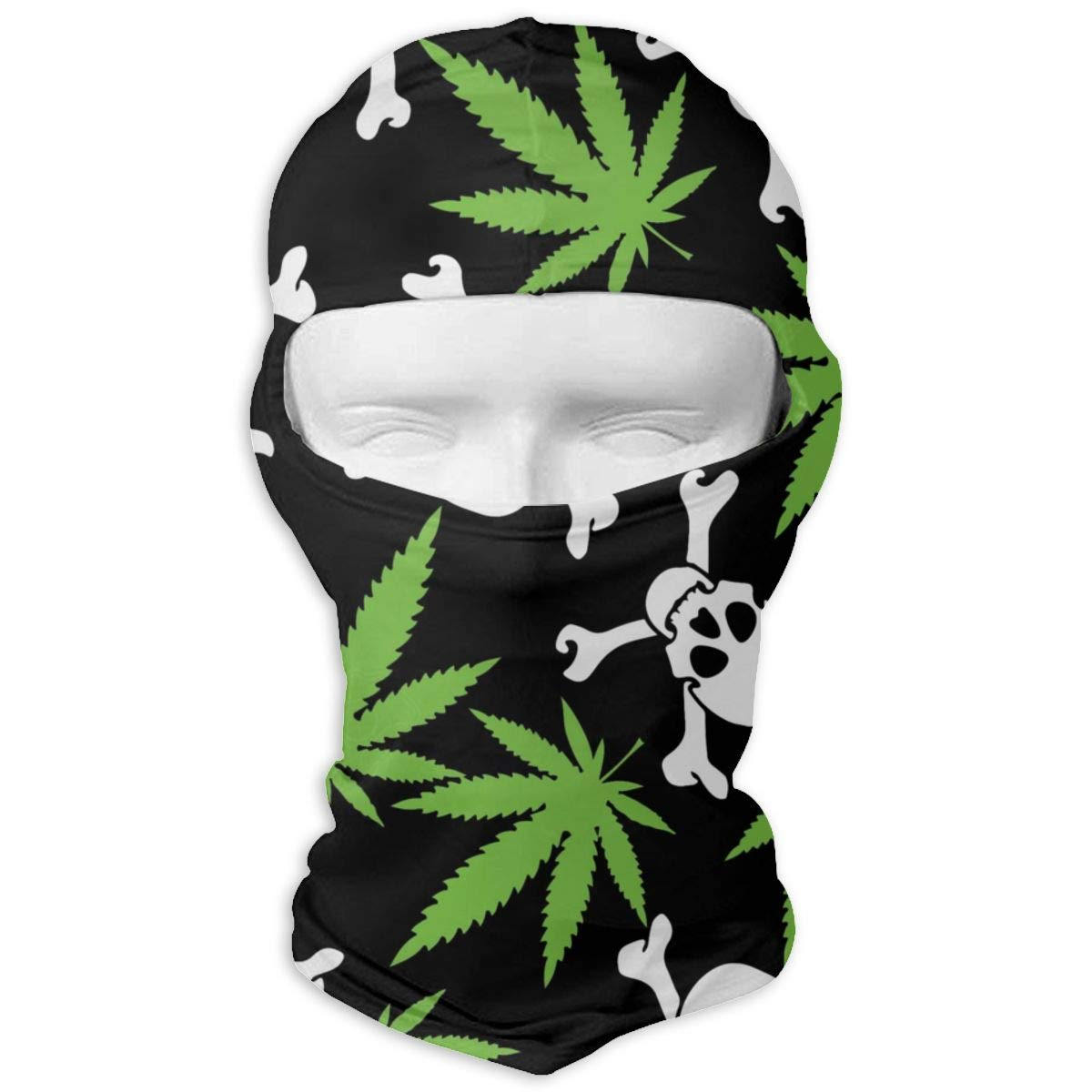 Winter Women Mens Balaclava Face Mask - Wind-Resistant Thermal Skullies Beanies Headwear Polyester Neck Warmer for Motorcycle Outdoors Hunting, Marijuana Weed Skull Crossbones Black