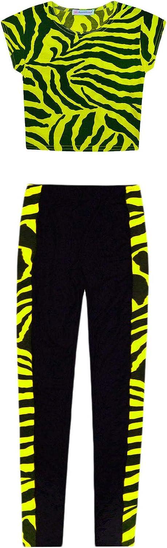 JollyRascals Girls Crop Top and Leggings Set 2 Psc Kids New Summer Dance Outfit Zebra T-Shirt and Black Leggings Neon Pink Yellow Orange Green Age 5 6 7 8 9 10 11 12 13 Years