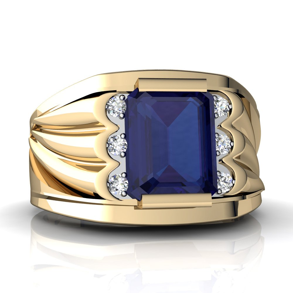 14kt Yellow Gold Lab Sapphire and Diamond 9x7mm Emerald_Cut Men's Ring - Size 14