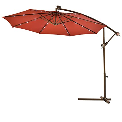 Merveilleux 10u0027 Hanging Solar LED Umbrella Patio Sun Shade Offset Market W/Base Burgundy