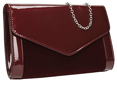 be1f2cefcd2 Chelsea Patent Leather & Suede Envelope Womens Party Prom Wedding Clutch  Bag Purse Bag - Burgundy