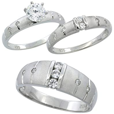 sterling silver cubic zirconia trio engagement wedding ring set for him and her 75 mm channel - Trio Wedding Rings