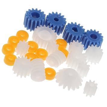 10 pezzi di plastica Bianca 10 denti modelli elettrici Ruote dentate Ingranaggi