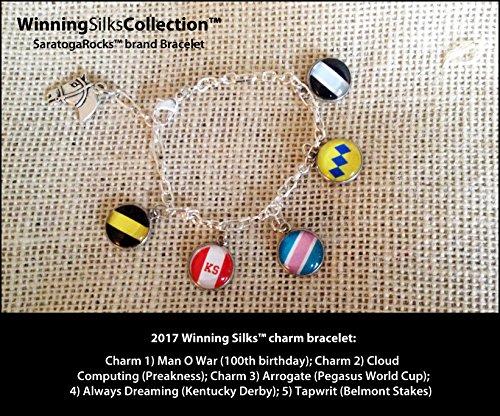 2017 Winning SilksTM charm bracelet: Man O' War (100th birthday); Cloud Computing (Preakness); Arrogate (Pegasus World Cup); Always Dreaming (Kentucky Derby); Tapwrit (Belmont Stakes) (Stake Charm)