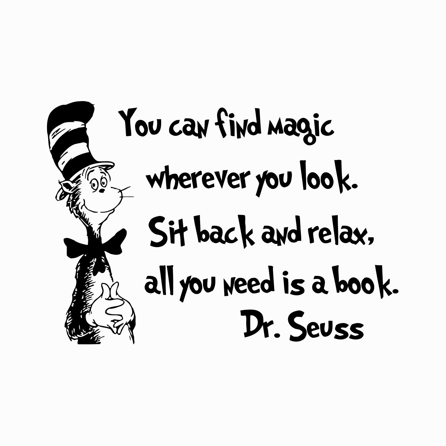 Amazon com quote wall decal dr seuss vinyl sticker decals quotes you can find magic wherever you look decal quote sayings decor nursery baby room x245