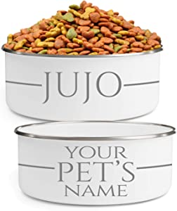 Personalized Dog Bowls (Medium - 30oz) for Food or Water - Design with Your Pet's Name - Custom Stainless Steel Enamel Dog Bowl with Lid