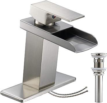 Waterfall Bathroom Faucet Brushed Nickel Single Handle Lavatory Vanity Mixer Tap