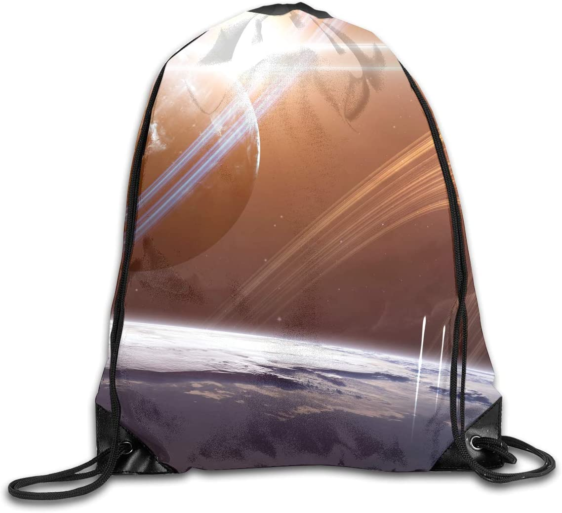 CoolStuff Travel Shoe Bags,Planets Spaceships Drawstring Backpack Hiking Climbing Gym Bag,Large Big Durable Reusable Polyester Footwear Protection