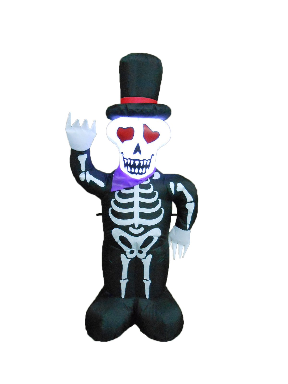 BZB Goods 4 Foot Halloween Inflatable LED Lighted Skull Skeleton with Hat LED Lights Decor Outdoor Indoor Holiday Decorations, Blow up Lighted Yard Decor, Lawn Inflatables Home Family Outside