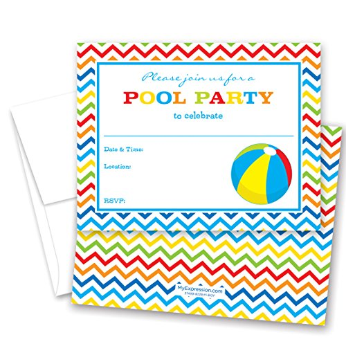 Kids beach party invitations amazon 24 pool party beach ball fill in kids birthday party invitations stopboris Image collections