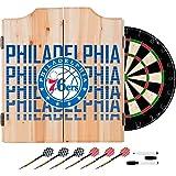 Trademark Gameroom NBA7010-PH3 NBA Dart Cabinet Set with Darts & Board - City - Philadelphia 76Ers