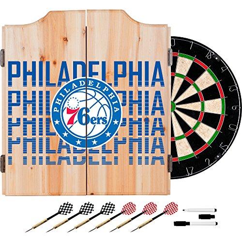 Trademark Gameroom NBA7010-PH3 NBA Dart Cabinet Set with Darts & Board - City - Philadelphia 76Ers by Trademark Global
