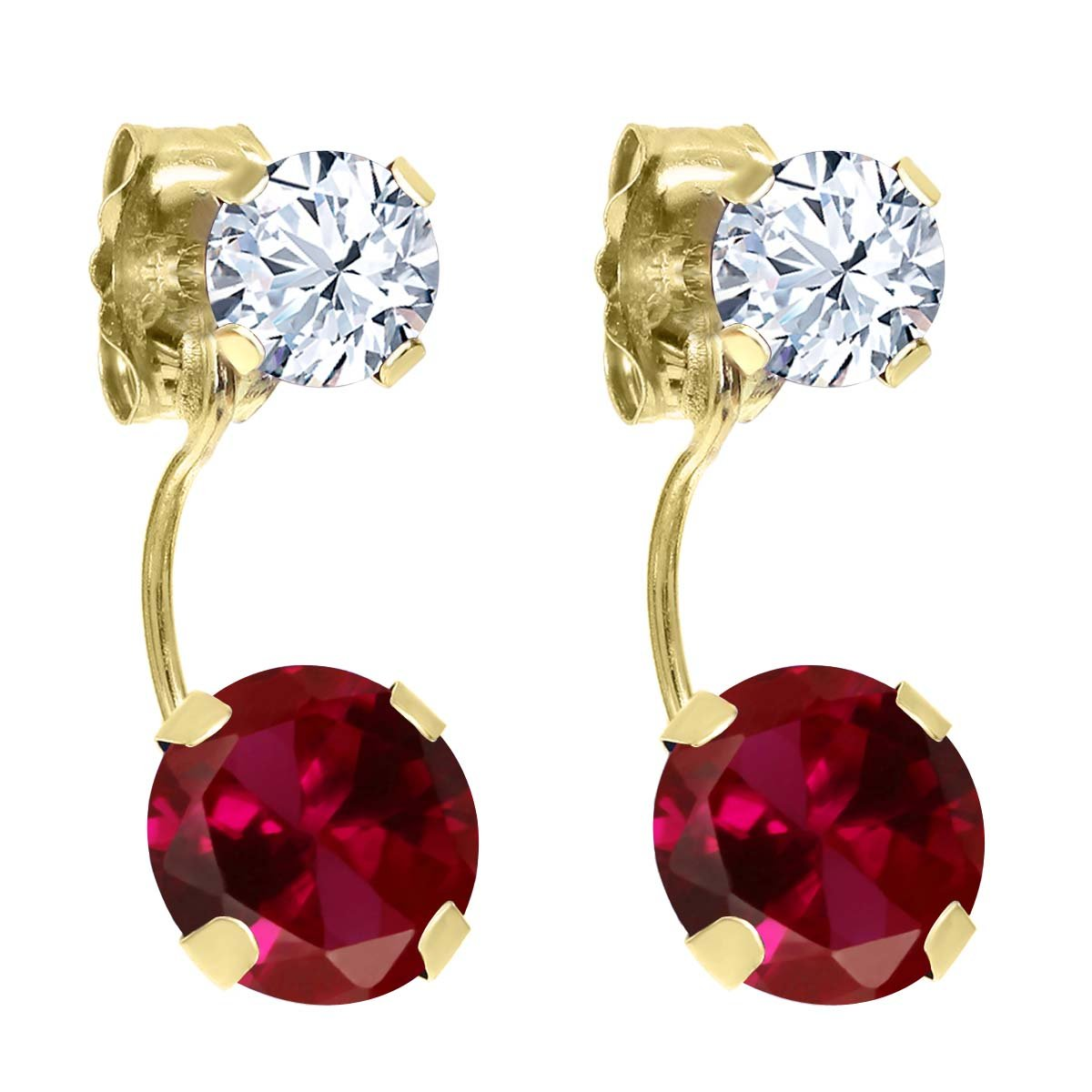 2.66 Ct Round Red Created Ruby White Topaz 14K Yellow Gold Earrings