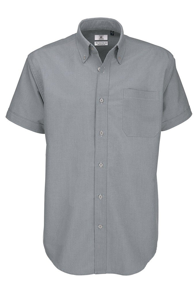 B&C Men's Oxford Short Sleeve Shirt Casual