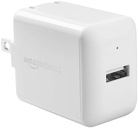 AmazonBasics One-Port USB Wall Charger for Phone, iPad, and Tablet, 2.4 Amp, White