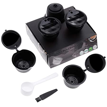 Lictin Version Mejorado Pack de 5 Cápsulas Filtros de café recargable reutilizable con Presión Aumendada para cafetera Dolce Gusto vida útil más de ...
