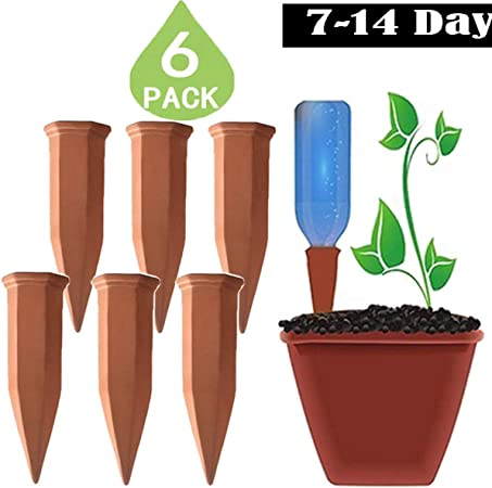 Ogrmar Set of 4 Plant Waterer Self Watering Terracotta Spikes Automatically W...