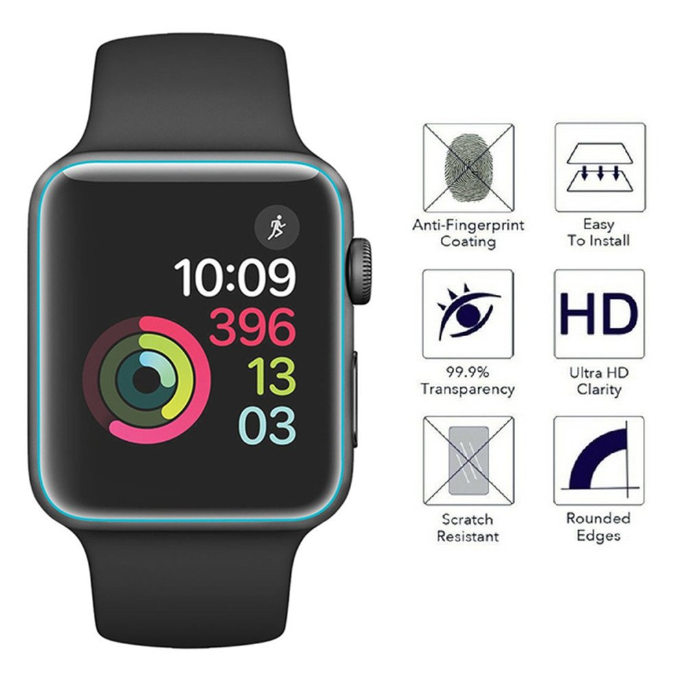 [6 PACK] Apple Watch Screen Protector 38mm Series 3 2 1, KAMII Full Coverage Anti-Bubble Self-Healing Case Friendly HD Clear Film Screen Protector for Apple Watch 38mm by KAMII (Image #2)