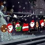 "SWORNA Holiday Series SN-55 Merry Christmas Santa Claus Elk Sleigh Removable Vinyl DIY Wall Window Door Mural Decal Sticker for Retail Store/Coffee House/Restaurant/Supermarket/Dress Shop 27""H X 48""W"