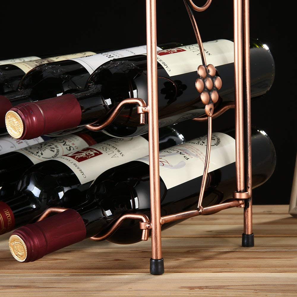 8 Bottles Capacity Wine Storage Display Rack 8 Wine Glass Anleo Metal Wine Glass Folding Rack Stand for Countertop Cabinet Cellar Vintage Style Deep Bronze