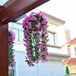Mynse-Violet-Flower-Artificial-Hanging-Plant-with-Chain-Flowerpot-Home-Gallery-Indoor-Outdoor-Decor-Hanging-Basket-Artificial-Flower-Violet-Purple-with-Red-Big-Basket