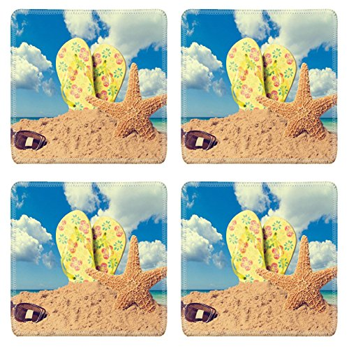 MSD Natural Rubber Square Coasters IMAGE 19860398 Sunglasses on sandy beach with flip flops and starfish against the ocean vintage feel