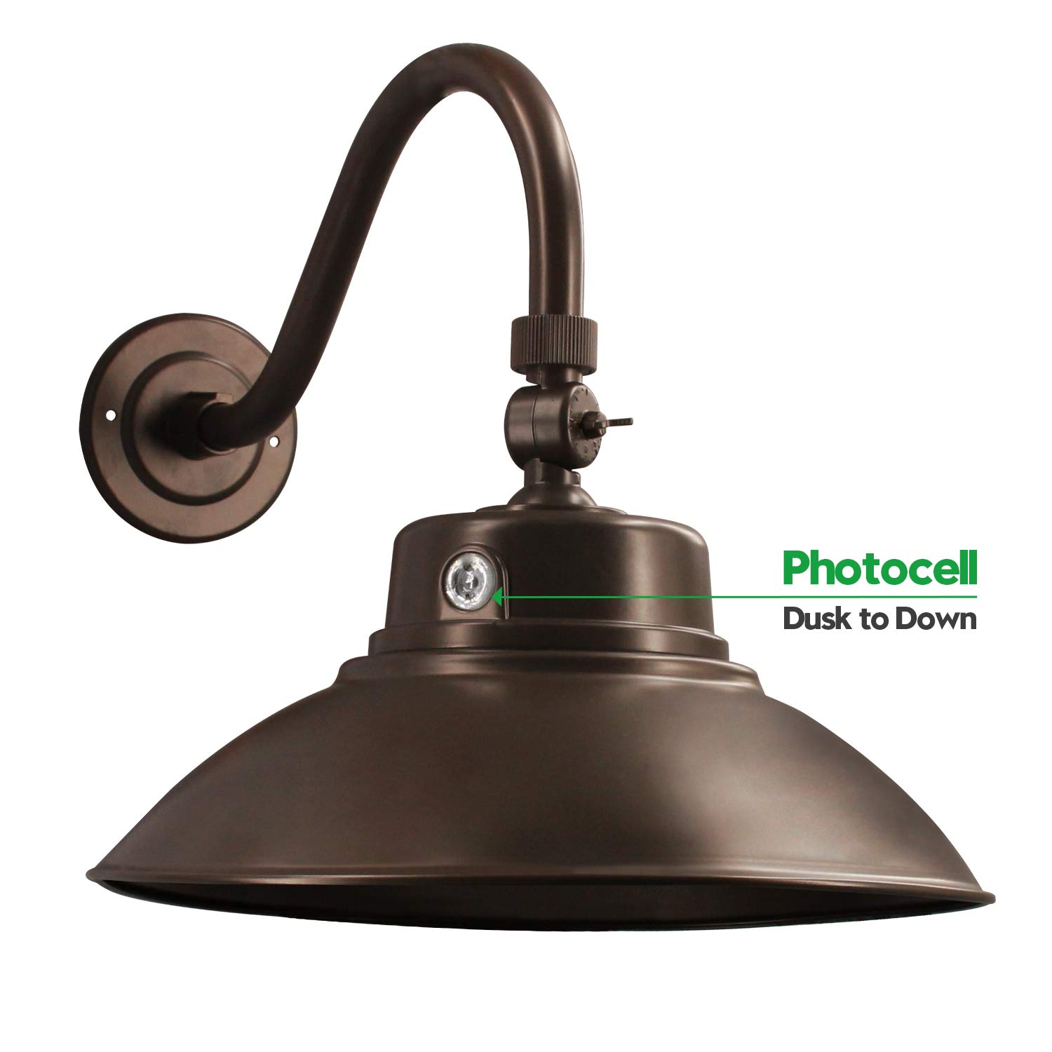 Brown LED Gooseneck Barn Light 14 Inch Classic Steel Shade 42W 4200lm Wall Porch Light - Photocell Included - 6000K Farmhouse Lighting