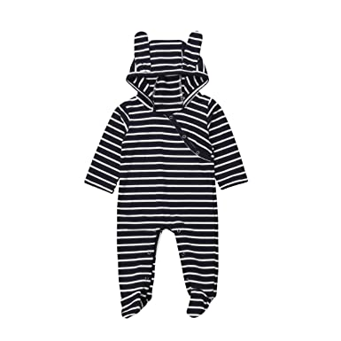 702ed50affaa ITFABS Baby Boys Girls Romper Footies Cute Stripes Jumpsuit Coveralls  Unisex Baby Pajamas Sleeper PJs (