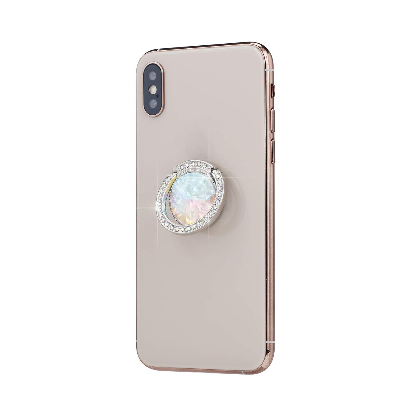Glitter Bling Bling Phone Ring Holder,Sparkle Phone Ring Artificial Diamond Kickstand,Rhinestone Cell Phone Finger Ring Grip for Girls//Women for Almost All Phones//Pad Silver