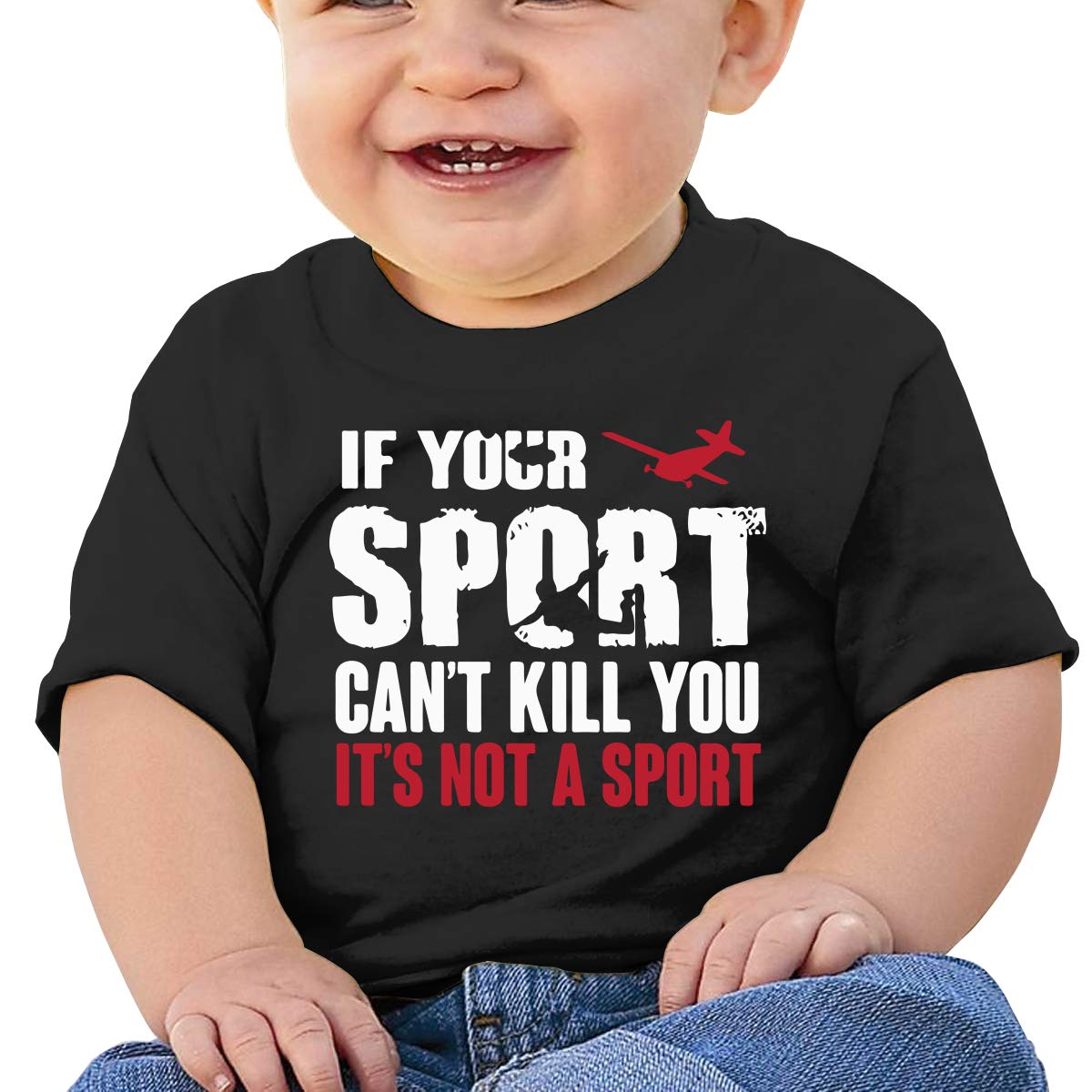 Skydiving If Your Sport Cant Kill You Its Not A Sport Baby Girls Newborn Short Sleeve Tee Shirt 6-24 Month Soft Tops