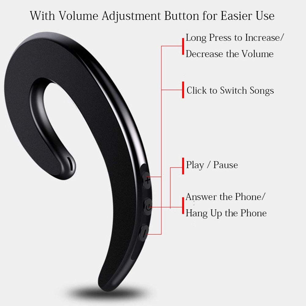 Bluetooth Headphone AHOUFHER Single Ear Wireless Headsets with Mic Inside Matte Black Ear Hook Mini Sports Earbuds Sweatproof Earpieces Painless Wearing Earpiece for iPhone and Android Devices