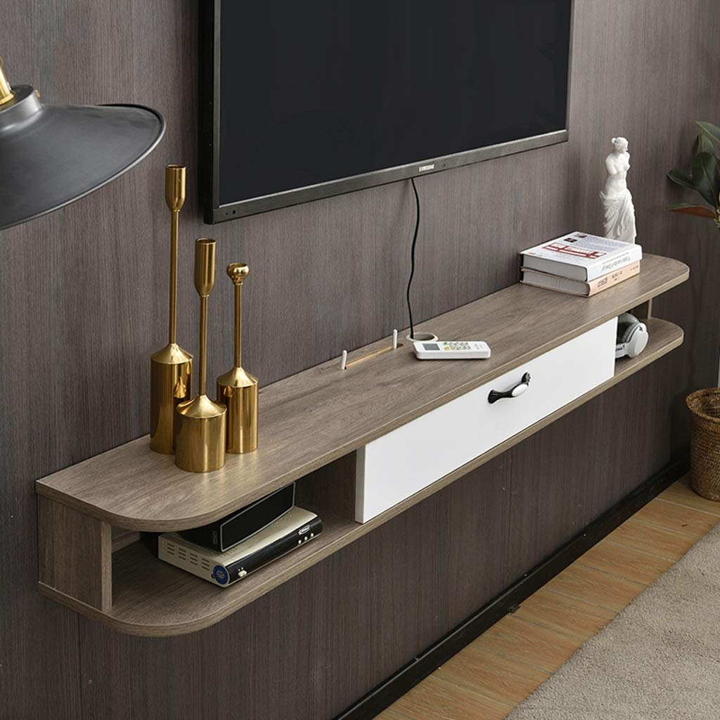 Floating Shelf Wall Mounted TV Stand Modern Wall Mount TV Storage Console Media Console Floating TV Cabniet Hanging Wall Shelf TV Console for Cable Boxes/Routers/Remotes/DVD Players/Game Consoles by SjYsXm-Floating shelf
