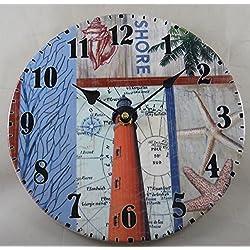 Lighthouse Ceramic Wall Clock | Coastal and Nautical Theme | 9-3/4 Wide