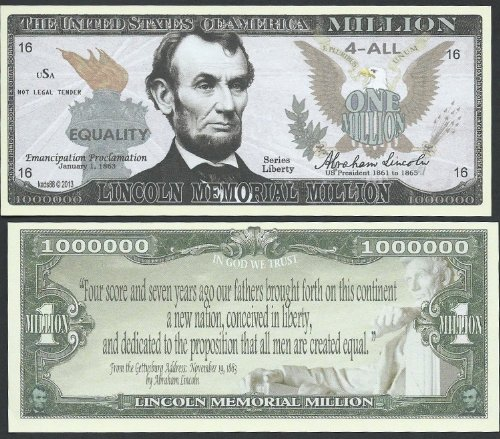 Abraham Lincoln Memorial Educational Million W Gettysburg Address Quote - Lot of 100 Bills