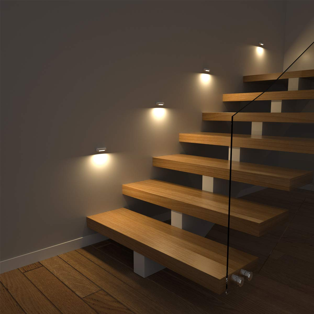 Morpilot 2pcs LED Stair Night Light/Cupboard Light with Motion Sensor, AA Battery Operated/Dual PIR Sensor/Low Battery Warning/3 Fixed Method/Octagonal Rotatable Design, Warm White Indoors Night Light