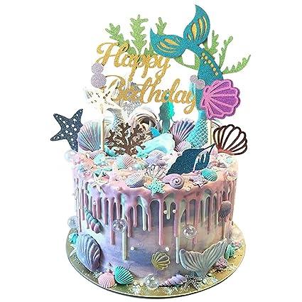 Amazon.com: Glitter Mermaid Cake Topper Happy Birthday Decoration ...