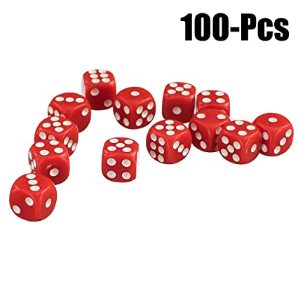 Joyibay Game Dice Set, 100Pcs Playing Dice Toy Opaque Round Corner Acrylic 6 Sided Dice (S Red)