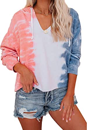 Women Tie Dye Sweatshirt Crewneck Long Sleeve Casual Loose Shirt Tops Pullover