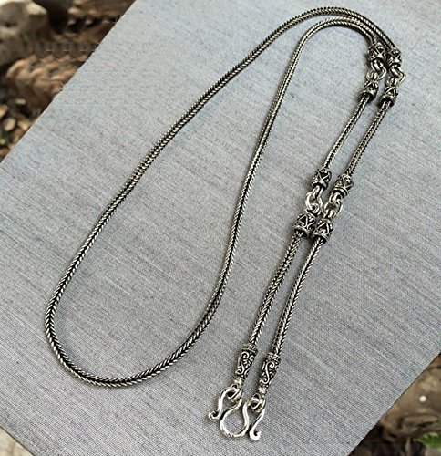 Brand New 925 Stering Silver Bali Weave Chain Link 2 mm Code :AC50 Womens // Mens Necklace Black Oxidized Silver Jewelry Thailand x 28 inch 71.5 cm.