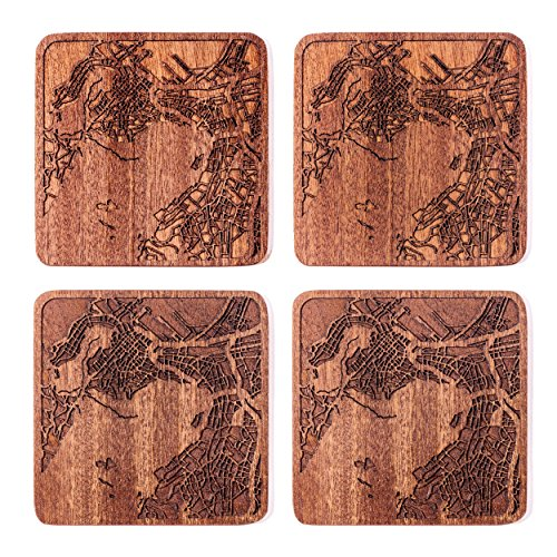 Cape Town Map Coaster by O3 Design Studio, Set Of 4, Sapele Wooden Coaster With City Map, Handmade