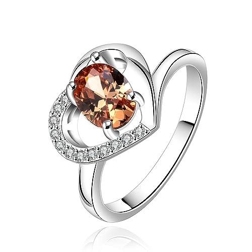 BELK únicos de la joyería de plata de ley en forma de corazón con Diamante Anillos