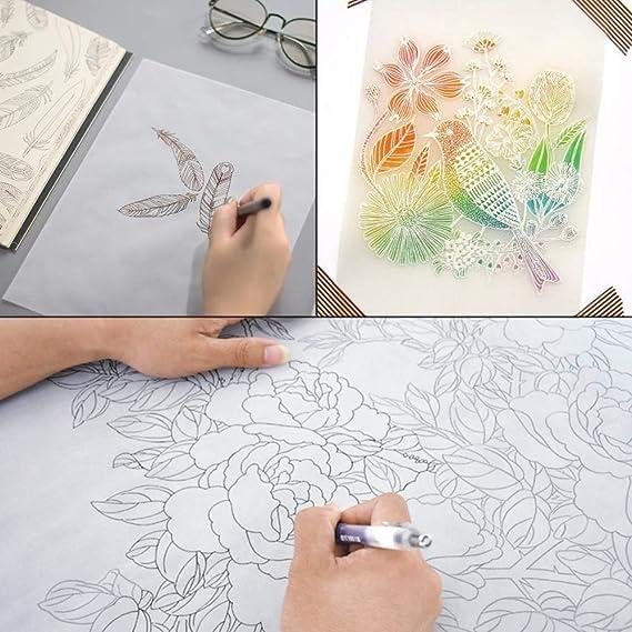 luosh 10 Blatt A4 Transparentes Pergament-Transparentpapier zum Skizzieren Drucken Zeichnen Comic-Zeichnungsanimation