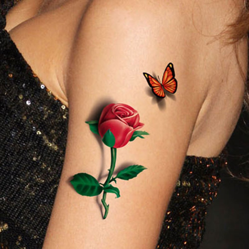 Tafly temporary tattoo 3d sexy multicolor for Fake tattoos amazon