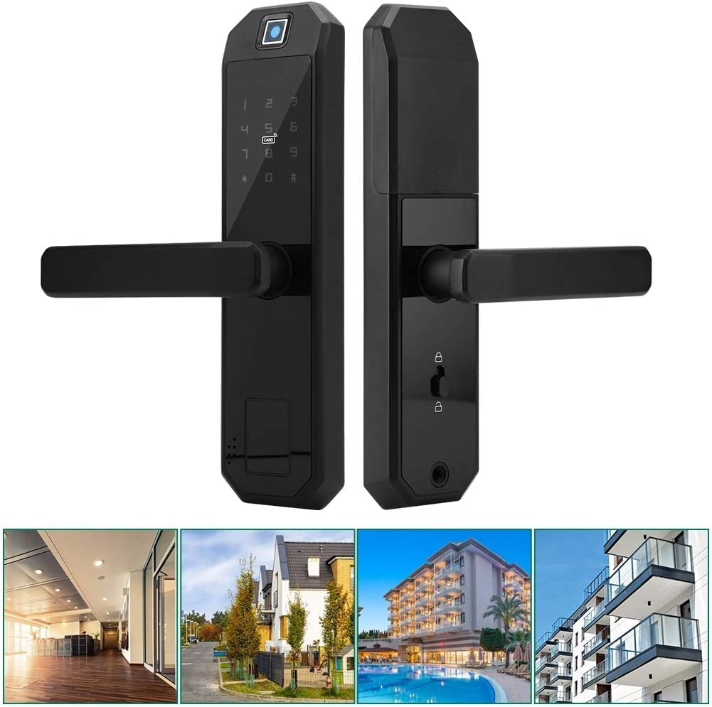 Biuzi Smart Fingerprint Lock Anti-peep Code Satin Nickel Digital Electronic Lock for Smart Home Anti-Theft Lock with Reversible Lever and Lock