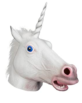 Máscara Color Blanco Unicornio De A Adultos Carnaval