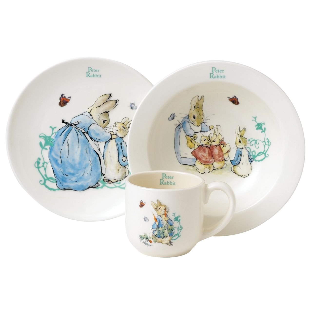 Beatrix Potter Peter Rabbit Nursery Set, 3 Pieces - White Enesco A25864