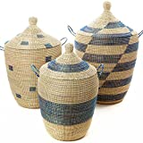 Set of Three Mixed Pattern Blue & White African Woven Hampers