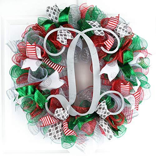 Christmas Mesh Wreath   Red Emerald Green Silver Outdoor Monogram Initial Front Door Wreath : C4